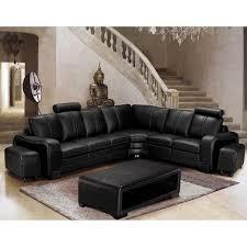 canapé d angle cuir noir canapé d angle en cuir noir cubana angle droite 2 poufs achat
