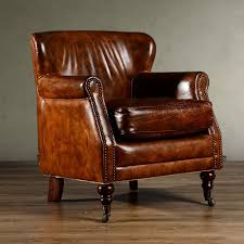 Vintage Leather Club Chair Leather Single Sofa