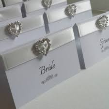 Table Place Cards by White U0026 Silver Personalised Heart Diamante Wedding Reception Name
