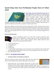 cara membuat paspor resmi syarat biaya dan cara pembuatan paspor baru di tahun 2018
