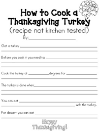 thanksgiving turkey recipe by colors and kindergarten tpt
