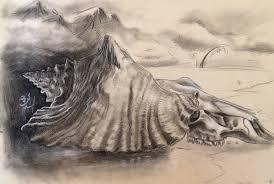 shell skull slenderman charcoal ap sketch by mirandapavelle on