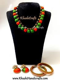 orange necklace sets images Buy silk thread necklace set in green and orange with bangles jpg