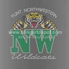 2018 flint northwestern wildcat letters iron ons rhinestone