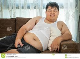 Couch Potato Tv Lazy Fat Guy Watching Tv Stock Photo Image 78584726