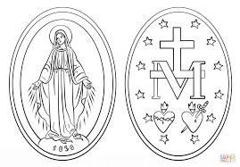 miraculous medal coloring page free printable coloring pages