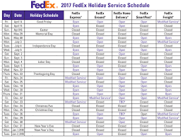 2017 fedex and ups schedule closures refund retriever