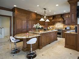 kitchen recessed lighting design with wooden kitchen cabinet also