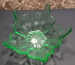 unique vintage green glass petal shaped fruit bowl vintage
