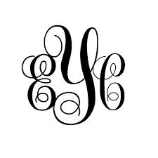 monogram initials 5 inch 3 letter monogram initials decal sticker free usa