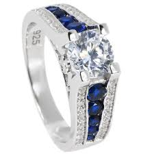 thin blue line wedding band thin blue line engagement ring sterling silver cz clear brilliant