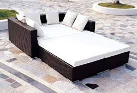 rattan outdoor daybed luxury patio furniture rome amazon co uk