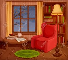 illustration of a cozy autumn living room with armchair bookcase