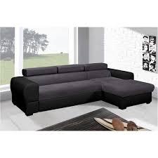 canapé d angle convertible deaya avec repose tête gris et noir
