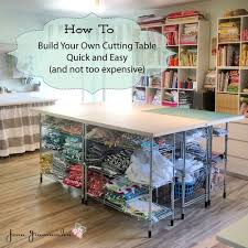 building table with storage build your own diy cutting table for your sewing room stop staring
