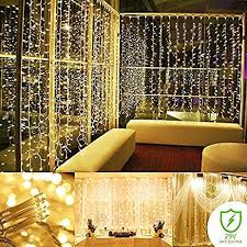 amazon com curtain string lights 300 led icicle wall lights