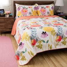 greenland home fashions watercolor dream 3 piece cotton quilt set