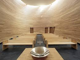 curved wood wall curved wooden kpi chapel of silence provides sanctuary in