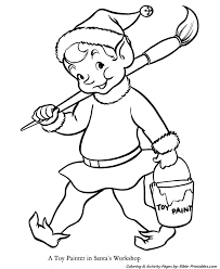 santa christmas coloring pages elf worker