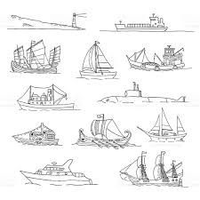 set with boats of different ages doodles stock vector art