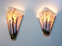 Unique Wall Sconces Trees Fused Glass Wall Sconce Artisan Crafted Lighting