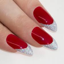 nails bling art red silver almond stiletto long fake acrylic tips