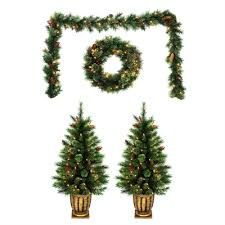 living pre lit garland wreath and potted trees combo set