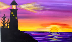 sunrise lighthouse step by step acrylic painting on canvas for beginners you
