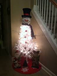 White Christmas Tree Ideas Snowman by Snowman Tree White Tree From Dollar Store Bought Snowman Head