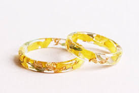 rings with initials nature resin ring band with pressed golden petals