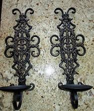 Fleur De Lis Wall Sconce Wrought Iron Tuscan Candle Sconces Ebay