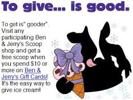 Ben And Jerry S Gift Card - ben jerry s purchase 10 in gift cards get a free scoop