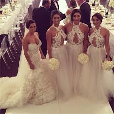 Tumblr Sexy Bride - jewel halter neck lace tulle bridesmaid dresses plus size cleavage