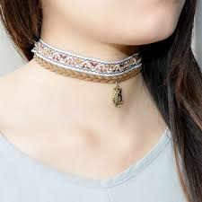 vintage leather choker necklace images New design brown leather with vintage owl choker necklaces jpg