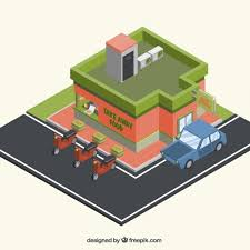 3d outdoor restaurant with vehicles vector free download