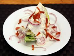 dinner tonight iceberg wedge with warm bacon and blue cheese