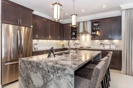 marble island kitchen beautiful waterfall kitchen islands countertop designs designing