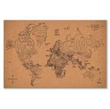 World Map Bulletin Board by Corkboards Easy Tiger