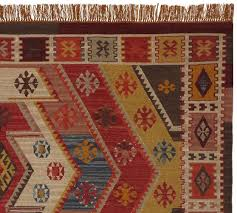 Pottery Barn Runner Rug Recycled Yarn Kilim Indoor Outdoor Rug Warm Multi