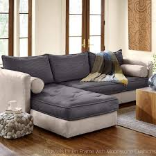 Couch And Chaise Lounge Eco Linen Sectional Sleeper Sofa With Chaise Lounge Vivaterra