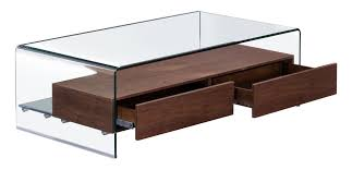 shaman coffee table in curved glass w thick walnut finish shelf