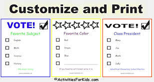 printable voting ballots for kids add your candidates