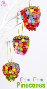 colourful pom pom pinecones nature crafts and pinecone