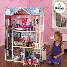 kidkraft wooden dollhouse with 14 pieces furniture multi color
