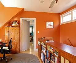 bright vibrant home offices with bold orange brilliance with