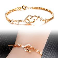 women bracelet heart images Gold color bracelet new fashion simple style heart charm bracelets jpg