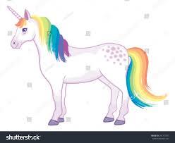 cartoon unicorn rainbow mane tail standing stock vector 241772701