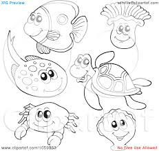 marine clipart water animal pencil color marine