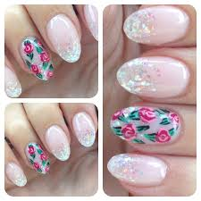 glitter round nails with flower nail art nails nails nails