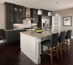dark hardwood floors kitchen transitional with gray walls glass